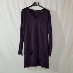 Nicole Miller merino wool blend purple knit dress